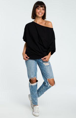 Asymetryczna bluza odsłaniająca ramiona czarna
