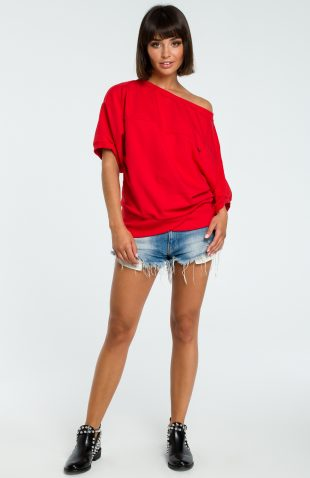 Asymetryczna bluza odsłaniająca ramiona czerwona
