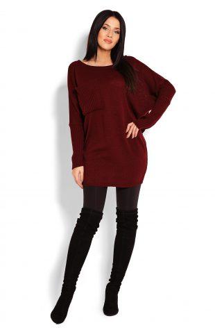 Tunika swetrowa oversize bordowa
