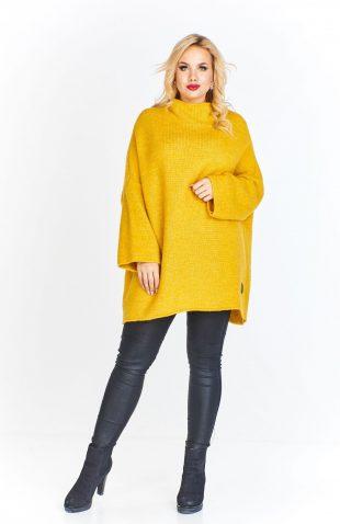 Tunika swetrowa oversize z szerokimi rękawami