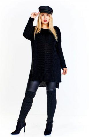 Sweter damski asymetryczny o dłuższym fasonie