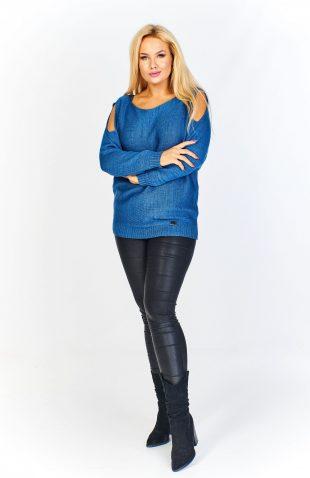 Sweter damski klasyczny z rozcinanymi rękawami