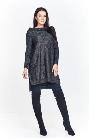 Sweter damski długi z dekoltem stójka