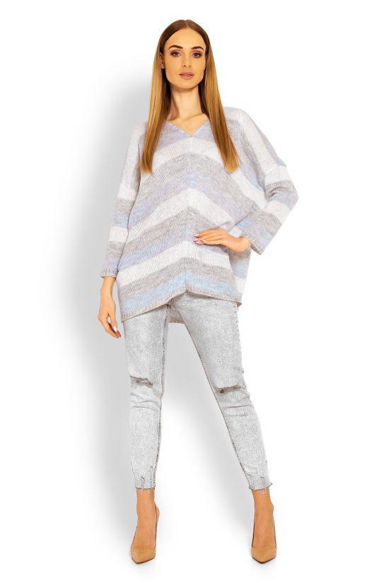Sweter damski oversize w pasy błękitny
