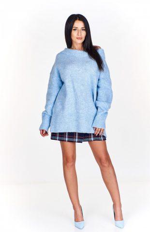 Sweter damski oversize błękitny