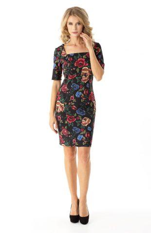 Sukienka ołówkowa do kolan w kwiaty