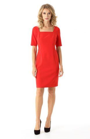 Sukienka ołówkowa do kolan czerwona
