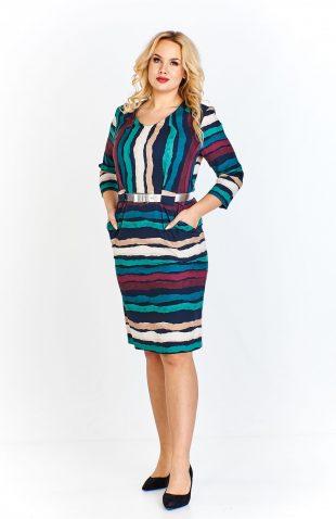 Sukienka plus size ołówkowa z paskiem