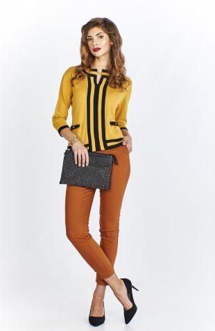 Sweter damski elegancki żółty