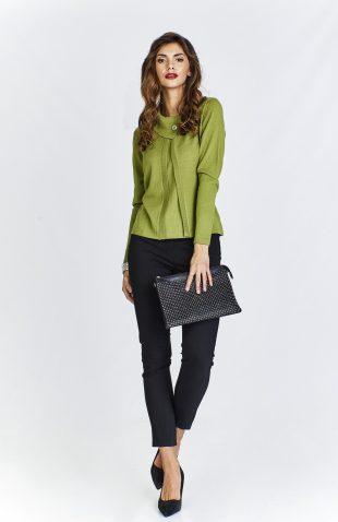 Sweter damski elegancki krótki zielony