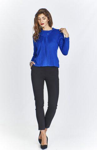 Sweter damski elegancki krótki niebieski