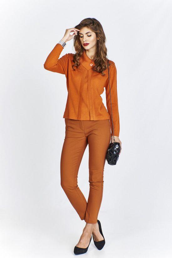 Sweter damski elegancki krótki pomarańczowy