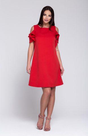 Sukienka trapezowa z odkrytymi ramionami czerwona