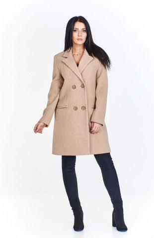 Płaszcz damski dwurzędowy wełniany beżowy