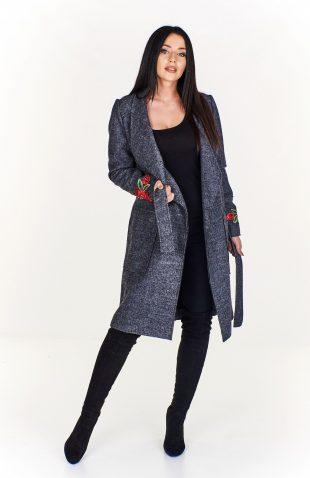 Płaszcz damski wełniany wiązany w pasie z haftem