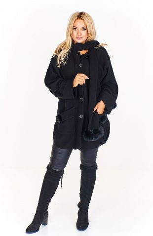 Płaszcz damski z wełną czarny