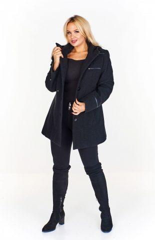Płaszcz damski wełniany z kapturem czarny