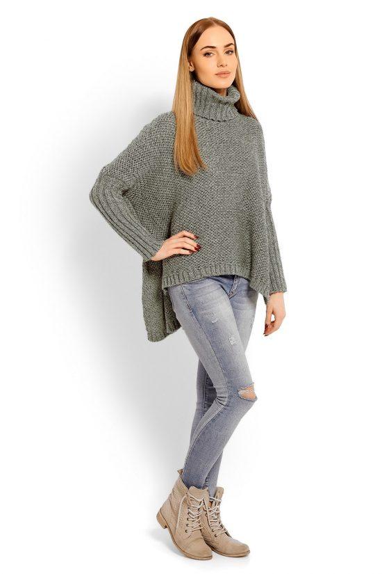 Sweter z golfem damski wełniany szary