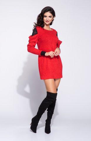 Sukienka swetrowa mini z koronką