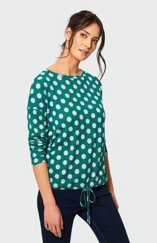 Klasyczny sweter w kropki zielony