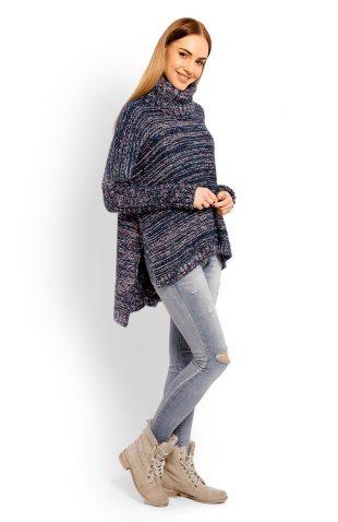 Sweter z golfem damski wełniany granatowy