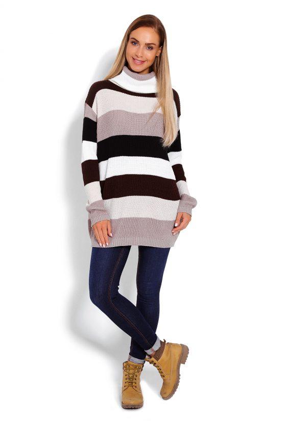 Sweter z golfem damski w pasy