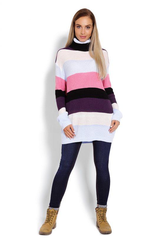 Sweter z golfem damski w pasy pastelowy