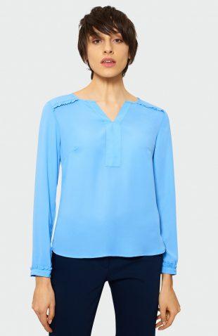 Bluzka damska z falbankami niebieska
