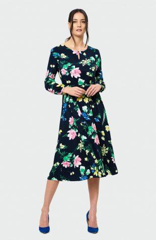 Sukienka rozkloszowana midi w kwiaty