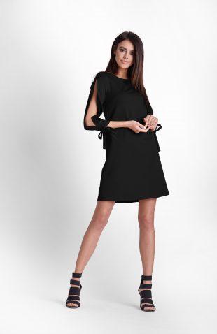 Sukienka z rozciętymi rękawami czarna