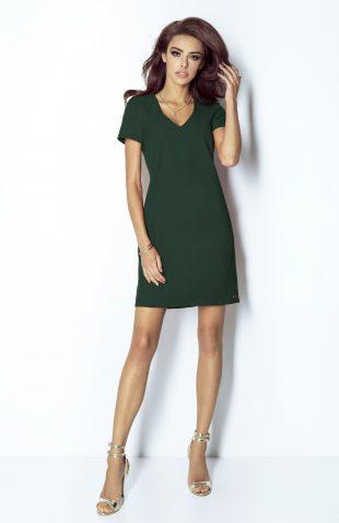 Sukienka trapezowa elegancka butelkowa zieleń