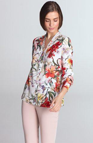 Bluzka koszulowa w kwiaty ecru
