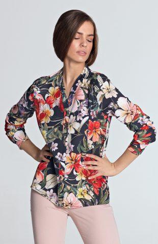 Bluzka koszulowa w kwiaty granatowa