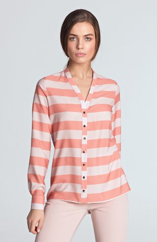 Bluzka koszulowa ecru w paski