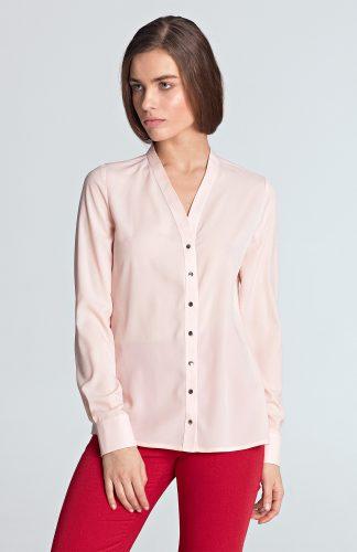 Bluzka koszulowa z długim rękawem różowa