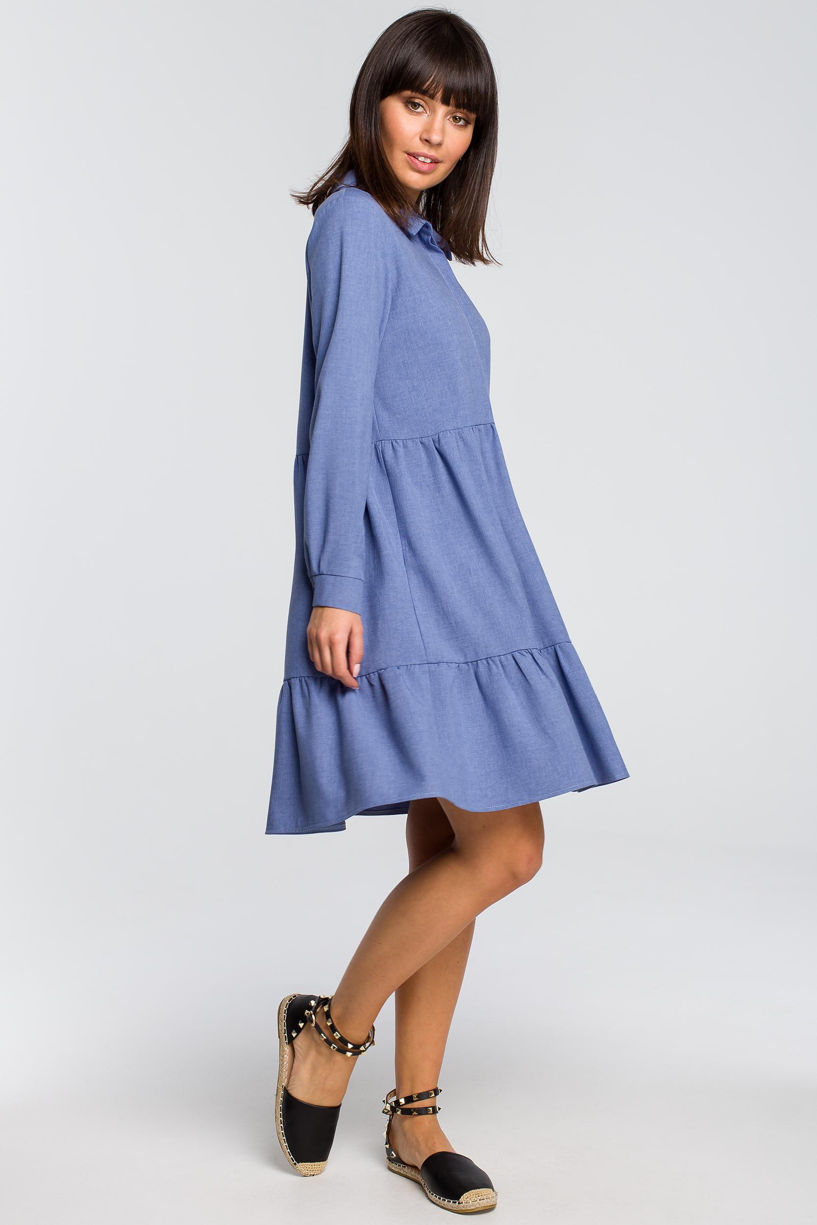 Sukienka oversize z falbanami niebieska
