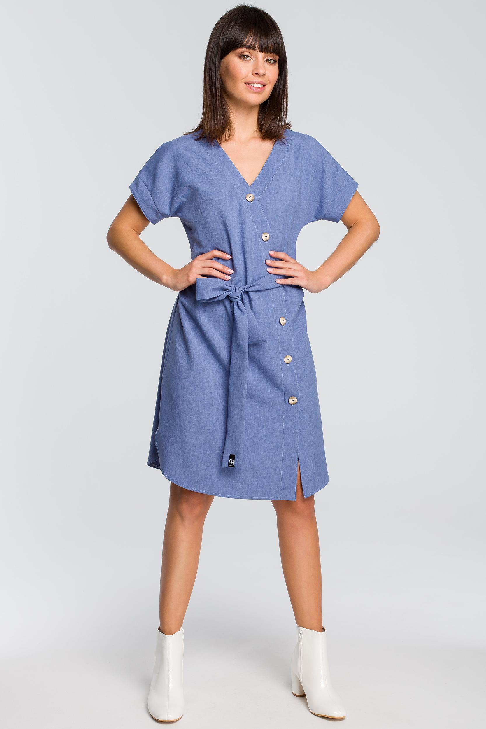 Sukienka zapinana na guziki niebieska