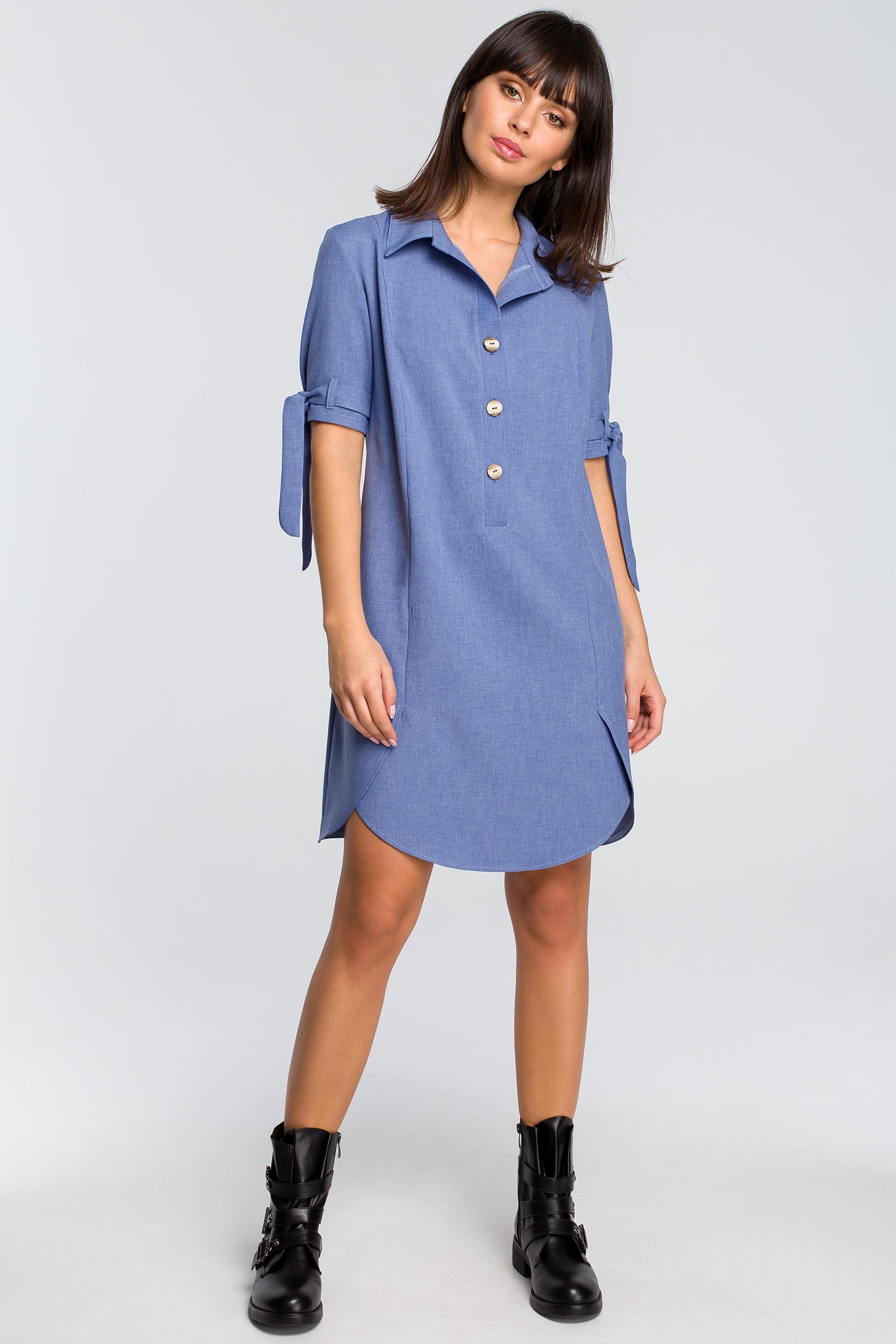 29051445 Sukienka koszulowa na guziki niebieska