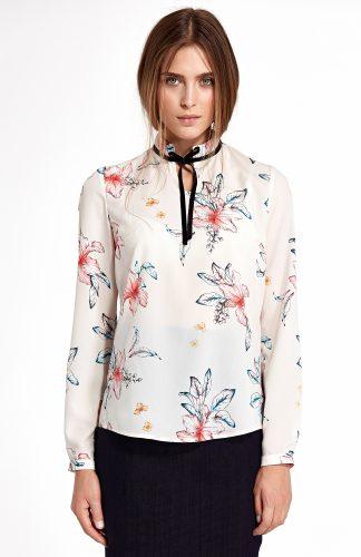 Elegancka bluzka w kwiaty ecru
