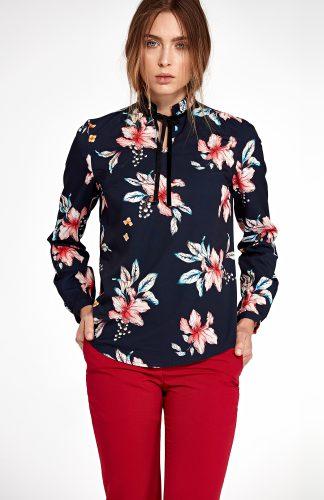 Elegancka bluzka w kwiaty granatowa
