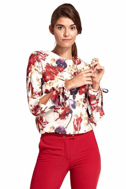 Bluzka z rozciętymi rękawami w kwiaty