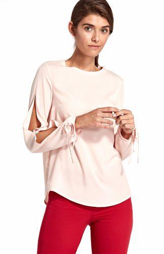 Bluzka z rozciętymi rękawami różowa