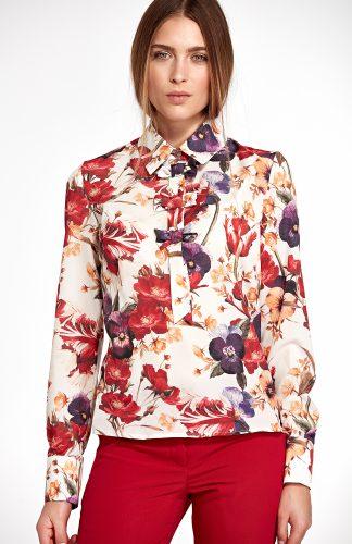 Bluzka koszulowa elegancka w kwiaty