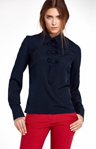 Bluzka koszulowa elegancka z kokardami granat