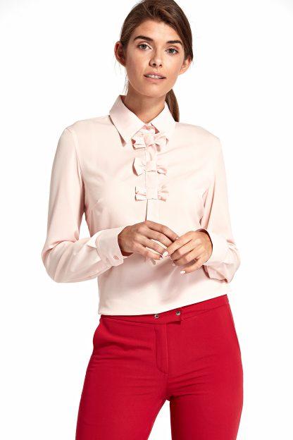 Bluzka koszulowa elegancka z kokardami róż