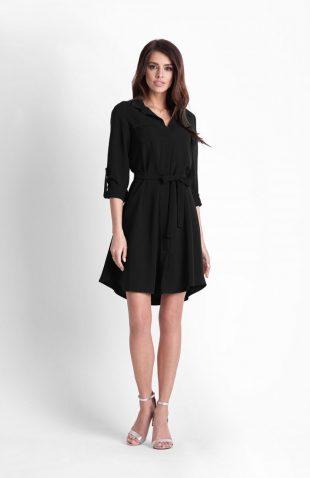 Sukienka koszulowa do kolan czarna