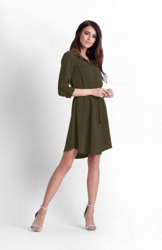 Sukienka koszulowa do kolan khaki