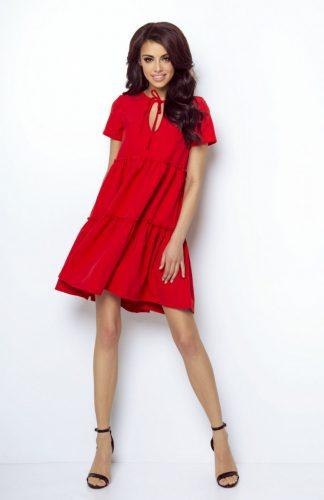 Sukienka z falbanami rozkloszowana czerwona