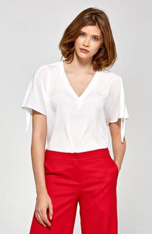 Elegancka biała bluzka krótki rękaw
