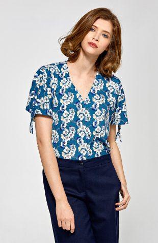 Elegancka bluzka we wzory krótki rękaw